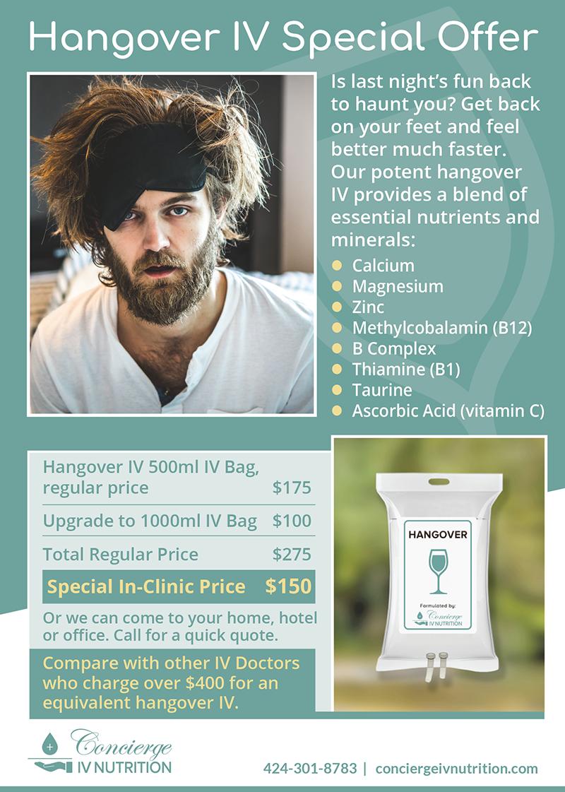 Concierge IV Nutrition Hangover IV June Special Offer